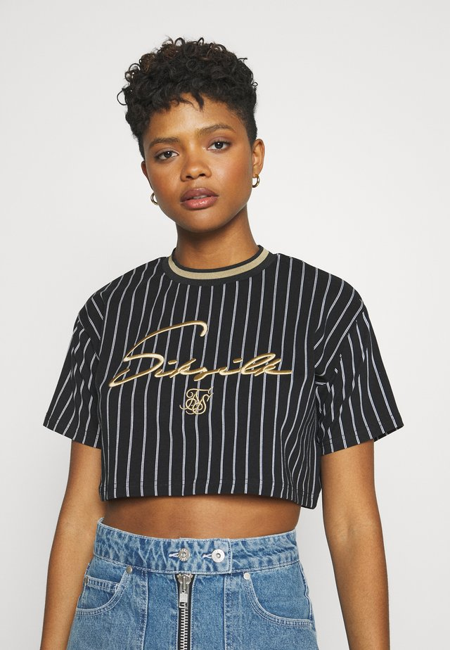 BASEBALL STRIPECROP TEE - T-Shirt print - black