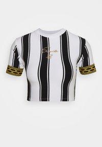 SIKSILK - ATHENA STRIPE BOX FIT CROP TEE - T-shirt con stampa - black/white - 3