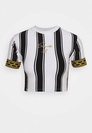 ATHENA STRIPE BOX FIT CROP TEE - Triko s potiskem - black/white