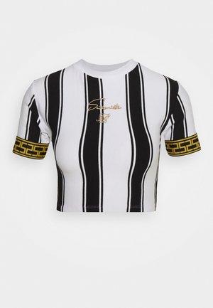 ATHENA STRIPE BOX FIT CROP TEE - T-shirt con stampa - black /white
