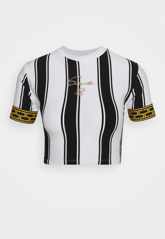 ATHENA STRIPE BOX FIT CROP TEE - Print T-shirt - black /white