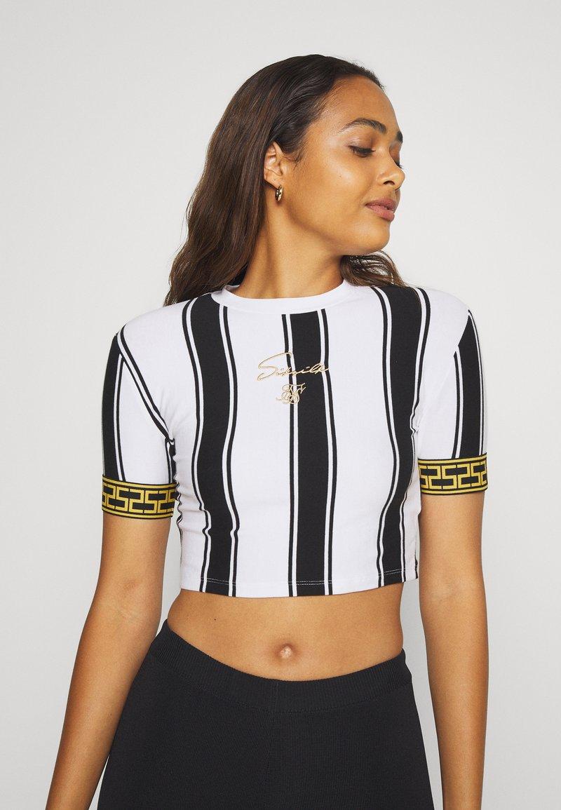 SIKSILK - ATHENA STRIPE BOX FIT CROP TEE - T-shirt con stampa - black/white