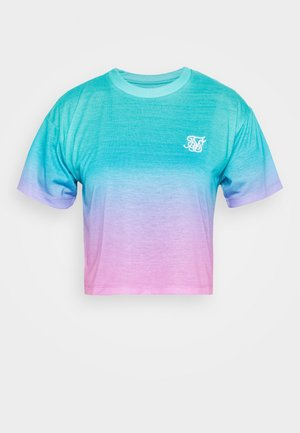 FADE CROP TEE - T-shirt imprimé - turquoise/pink