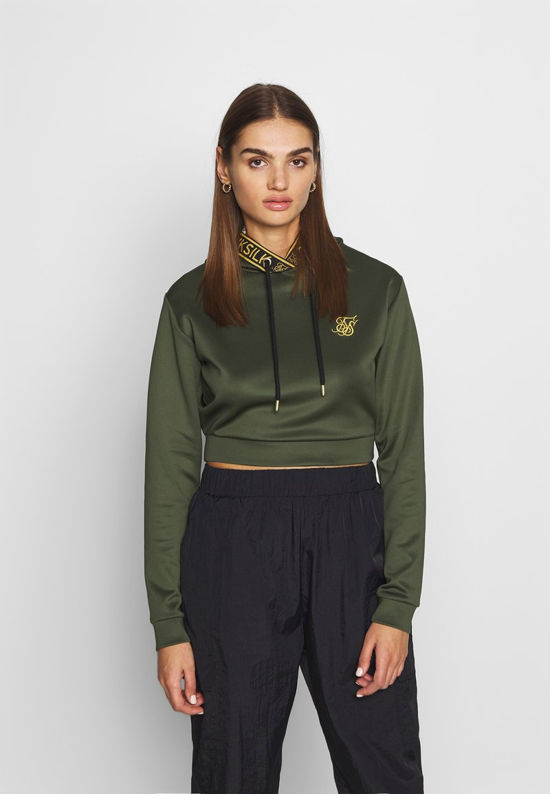 SIKSILK - TAPED CROPPED HOODIE - Mikina s kapucí - bronze/green