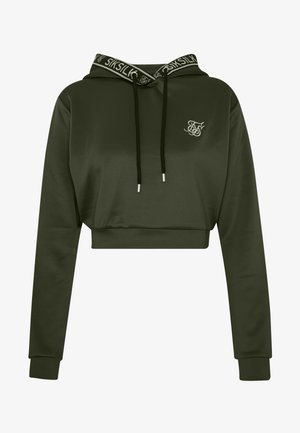 TAPED CROPPED HOODIE - Mikina skapucí - bronze/green