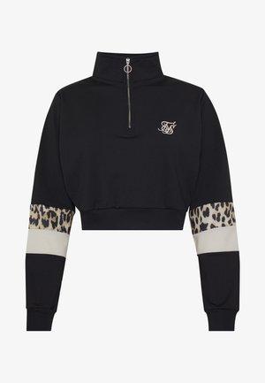 QUARTER LEOPARD TRACK TOP - Sweatshirt - black