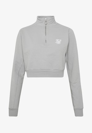 QUARTER ZIP CROP - Mikina - silver