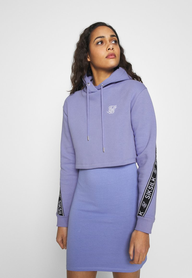 SIKSILK - TWISTED TAPE CROPPED HOODIE - Mikina skapucí - violet