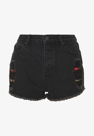 FLORAL ELEGANCE - Shorts di jeans - black denim