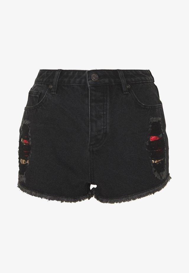 FLORAL ELEGANCE - Denim shorts - black denim