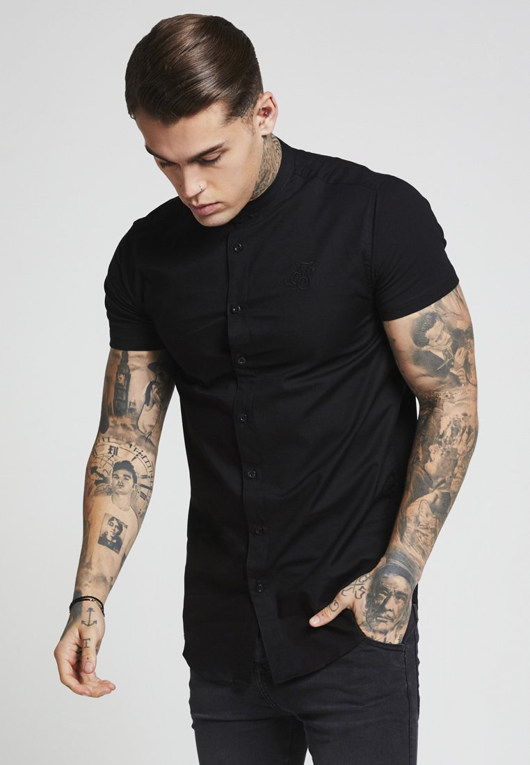 SIKSILK - GRANDAD SLEEVE FITTED - Camicia - black