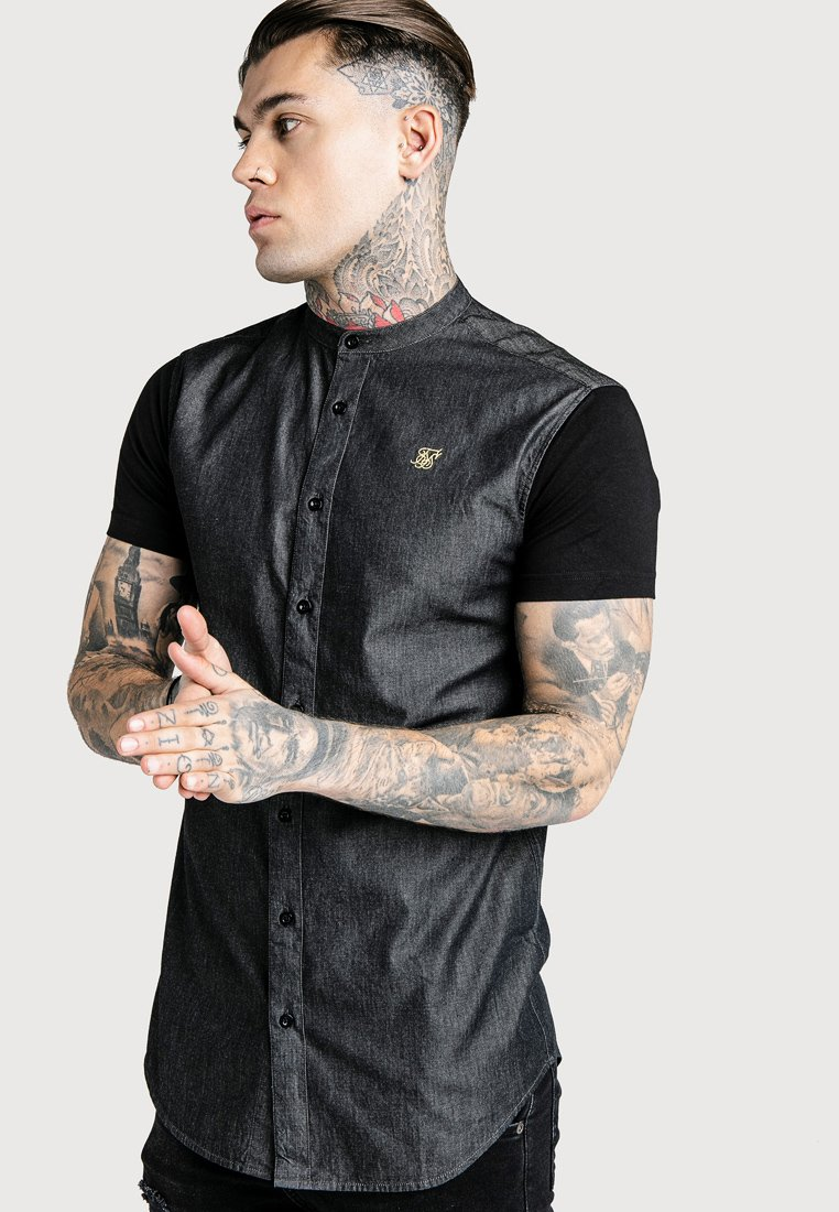 SIKSILK - GRANDAD COLLAR SHIRT - Hemd - black/gold