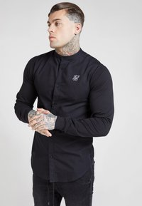 SIKSILK - GRANDAD COLLAR JLONG SLEEVE FITTED - Skjorta - black - 0