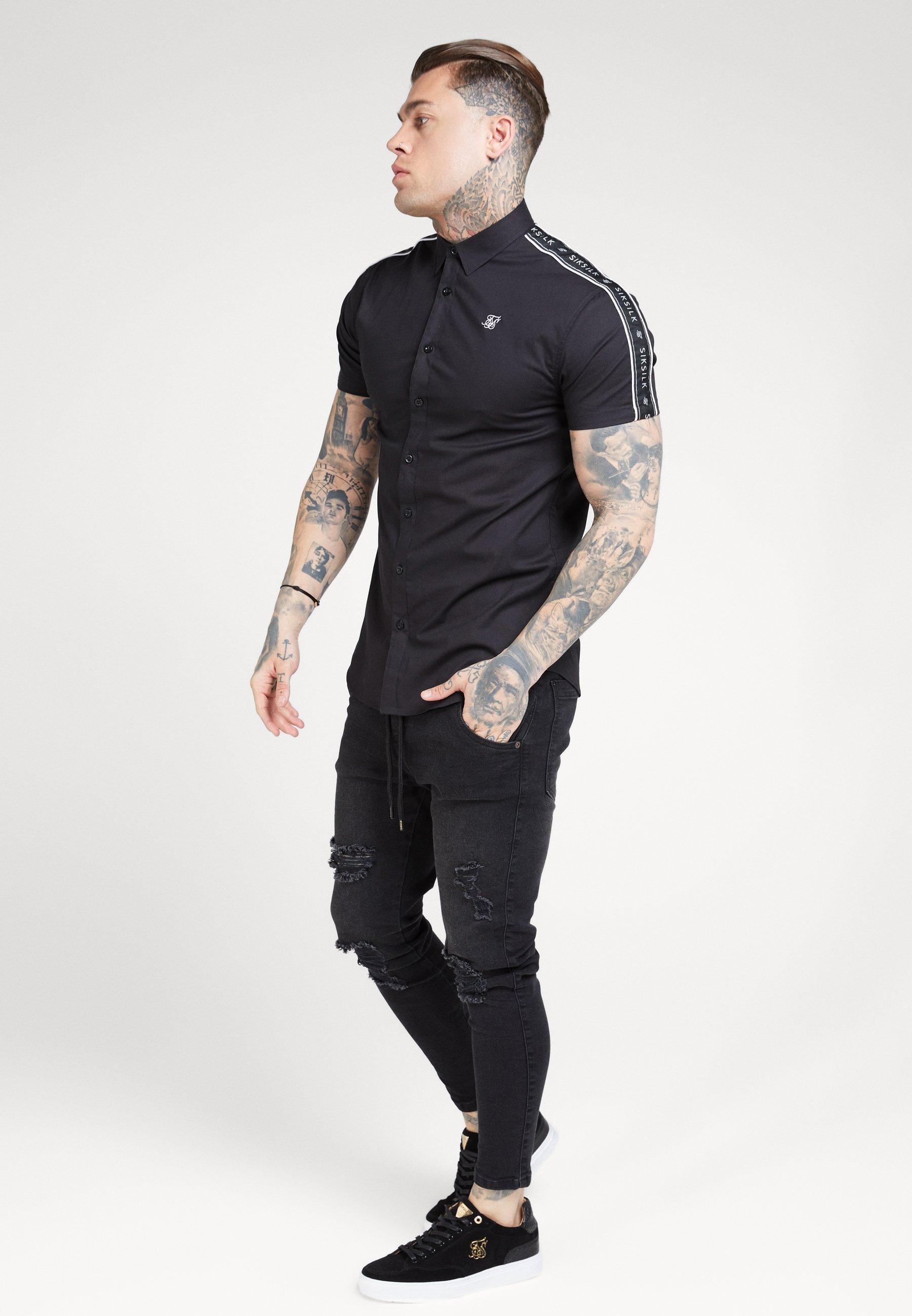 SIKSILK PIPED TAPE - Shirt - black