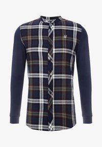 SIKSILK - GRANDAD COLLAR CHECK - Camicia elegante - navy/khaki/cream - 3