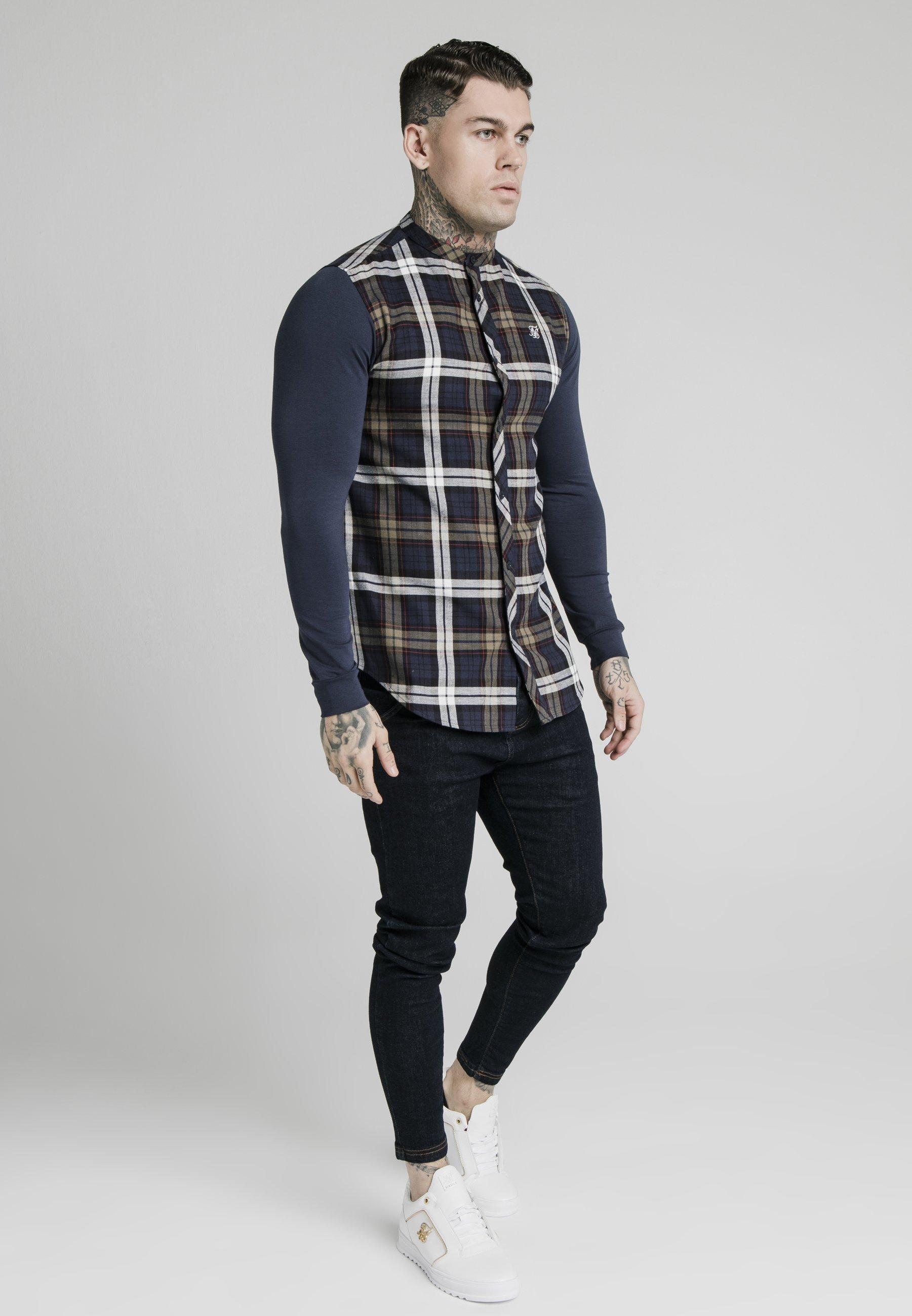 SIKSILK GRANDAD COLLAR CHECK - Koszula biznesowa - navy/khaki/cream