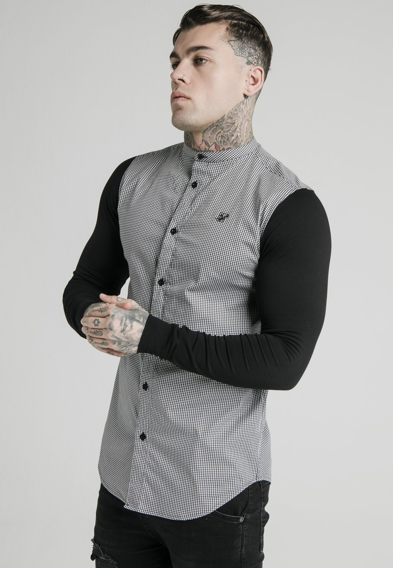SIKSILK - GRANDAD COLLAR DOGTHOOTH CHECK - Camicia - black