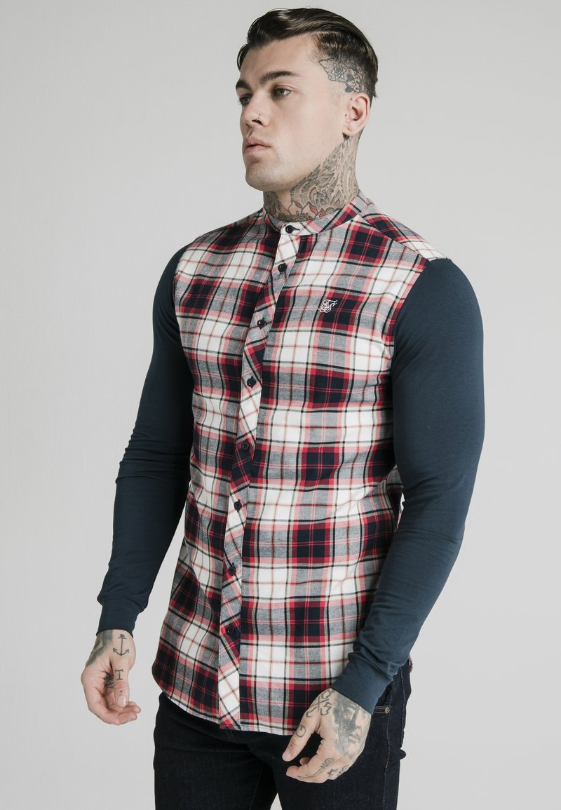 SIKSILK - LONG SLEEVE CHECK GRANDAD SHIRT - Overhemd - grey/red