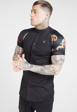 Shirt - jet blackfloral animal