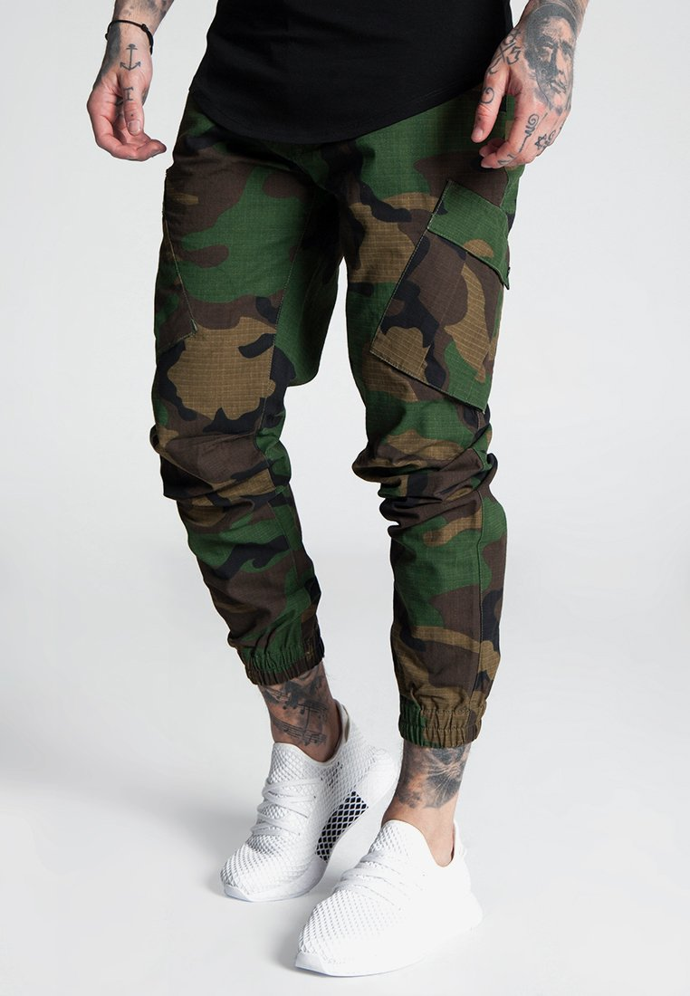 SIKSILK - FITTED CUFF PANTS - Cargo trousers - camo