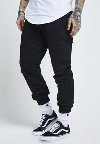SIKSILK - FITTED CUFF PANTS - Cargobyxor - black - 0