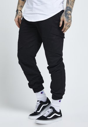 FITTED CUFF PANTS - Pantalones cargo - black
