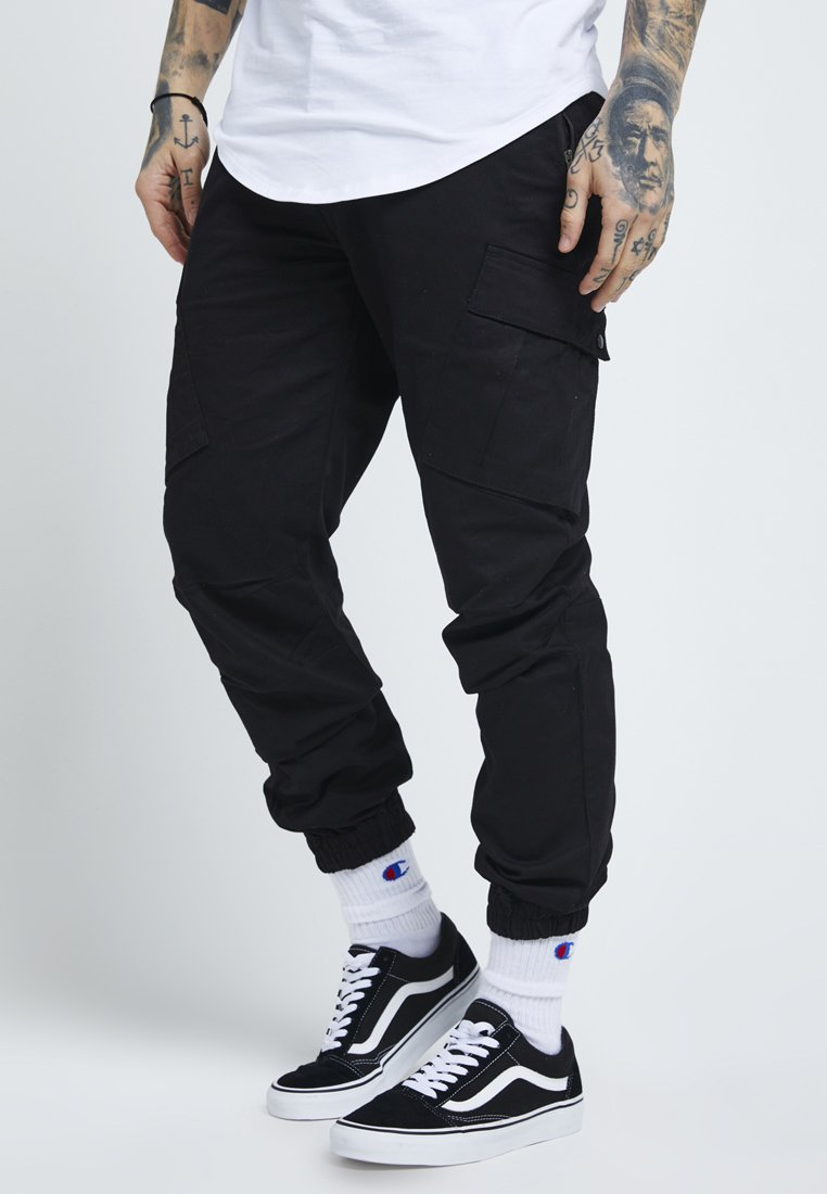 SIKSILK - FITTED CUFF PANTS - Cargobyxor - black