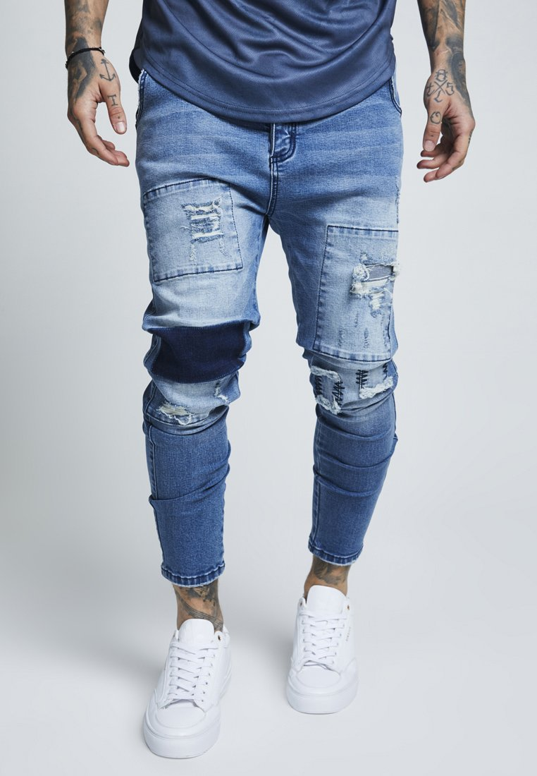 SIKSILK - DROP CROTCH PATCH - Vaqueros tapered - washed blue