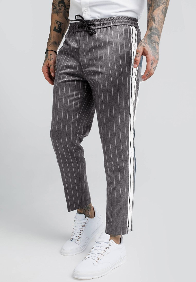 SIKSILK CROPPED TAPED PANTS - Tygbyxor - grey