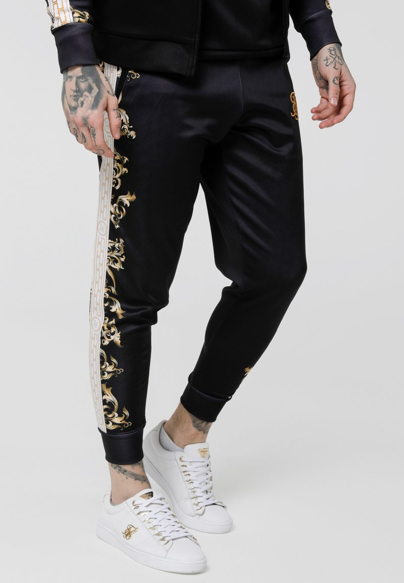 SIKSILK - CUFFED PANTS - Jogginghose - black/white/gold