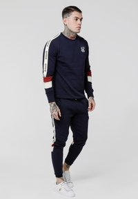 SIKSILK - RETRO PANEL TAPE - Tracksuit bottoms - navy/red/off white - 1