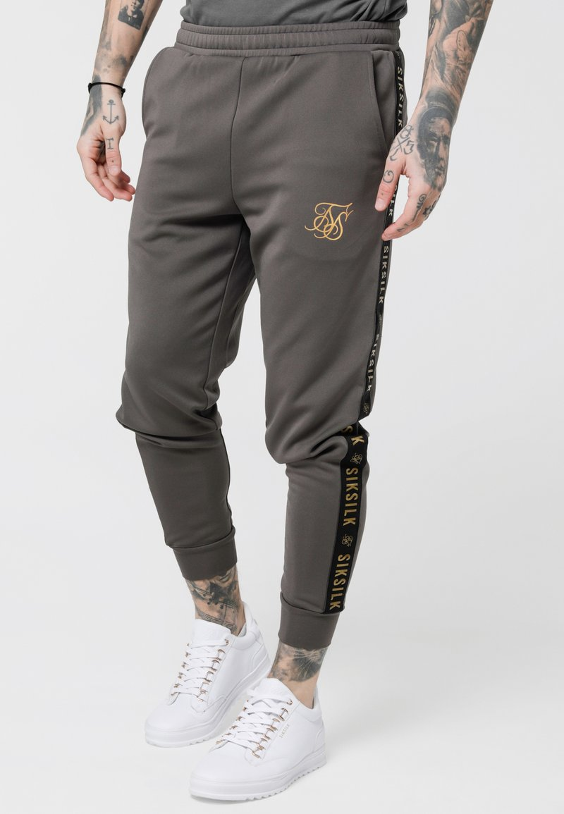 SIKSILK - CUFFED CROPPED TAPED  - Tracksuit bottoms - cement