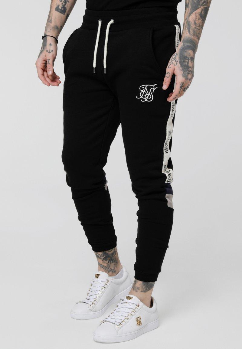 SIKSILK - RETRO PANEL TAPE - Pantalon de survêtement - black/grey/navy