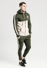 SIKSILK - PANELLED - Pantalon de survêtement - khaki/cream/gold - 1