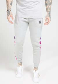 SIKSILK - MUSCLE FIT FADE PANEL - Pantalon de survêtement - grey marl/neon - 0