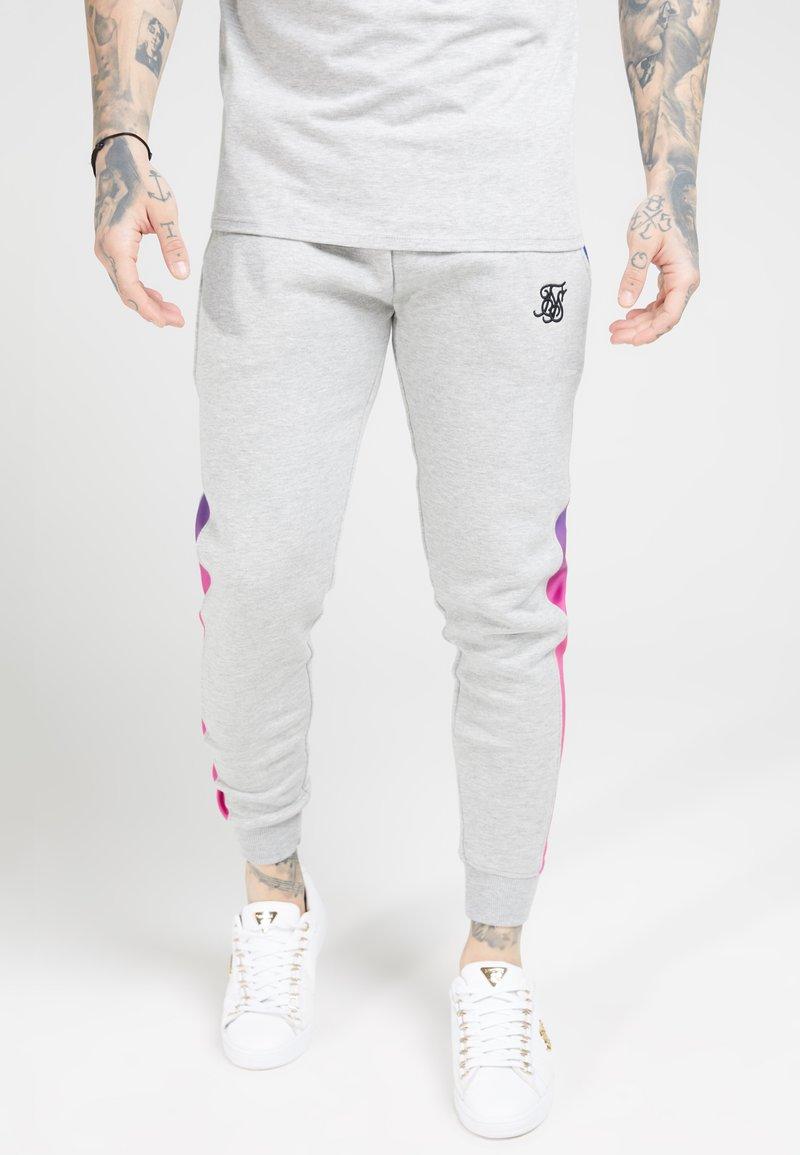 SIKSILK - MUSCLE FIT FADE PANEL - Pantalon de survêtement - grey marl/neon