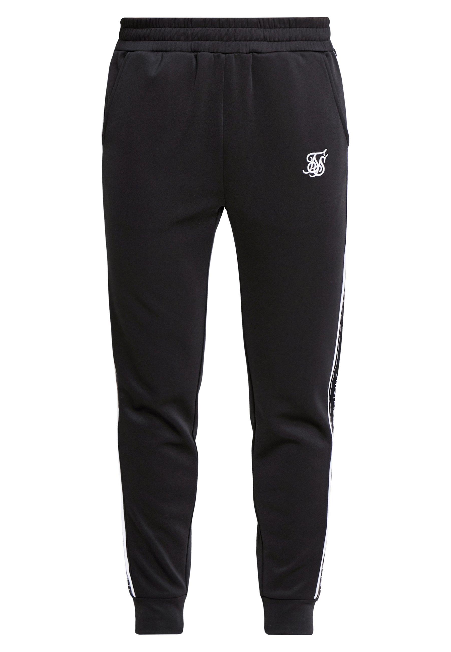 SIKSILK FITTED PANEL TAPE TRACK PANTS - Spodnie treningowe - black