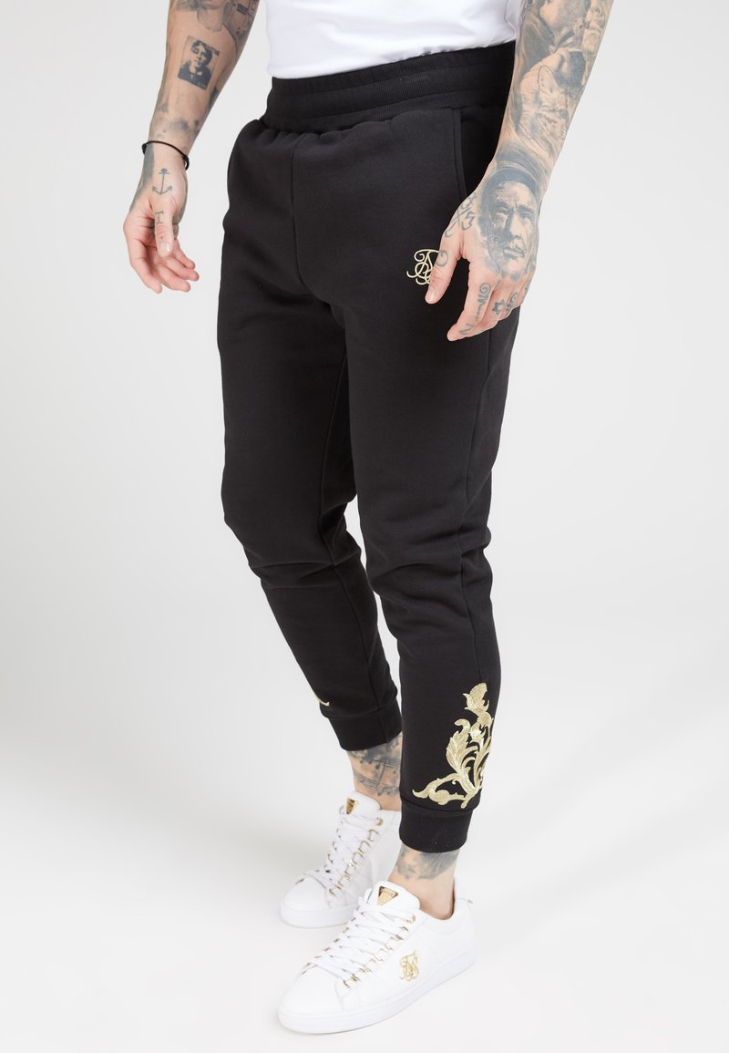 SIKSILK - FITTED  - Tracksuit bottoms - jet black/gold