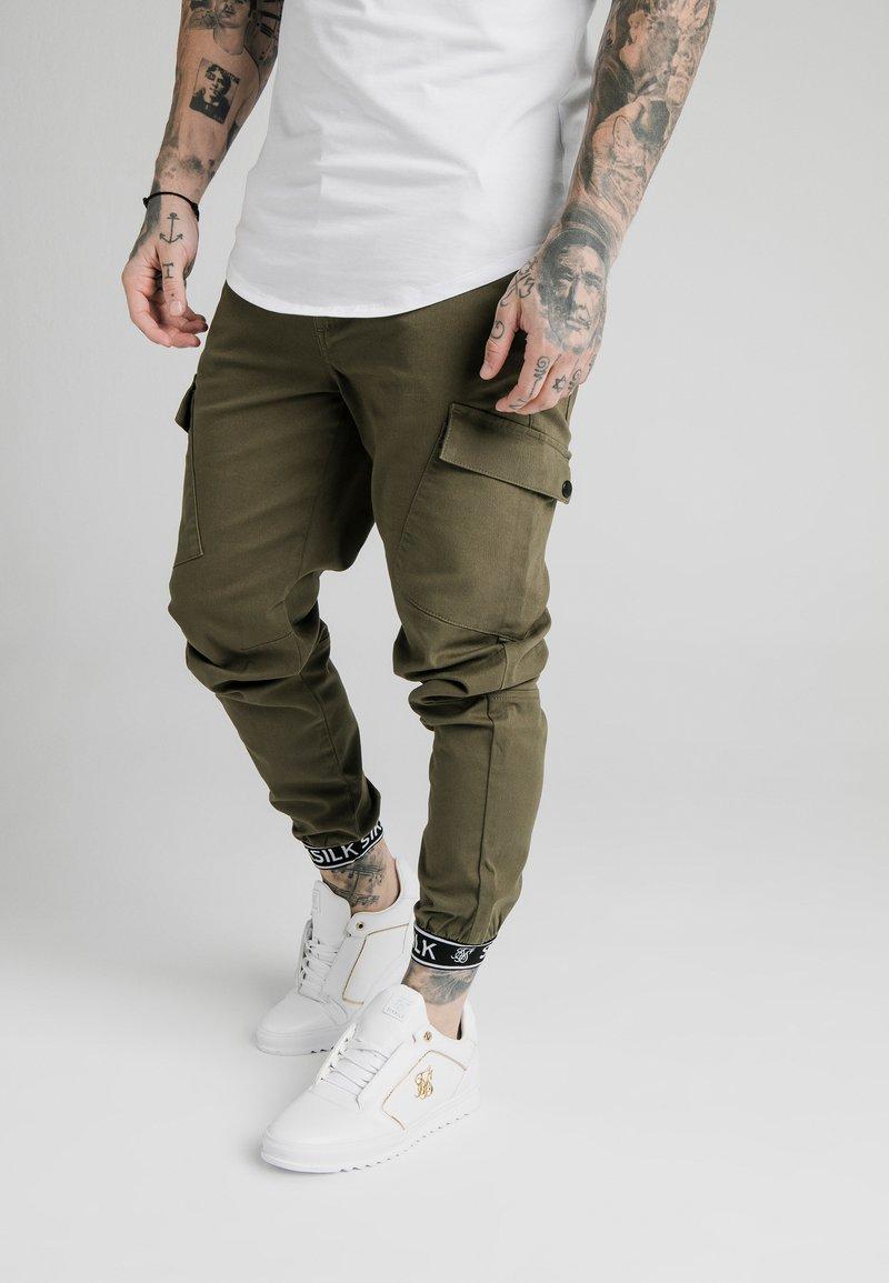 SIKSILK - CUFF PANTS - Cargo trousers - khaki