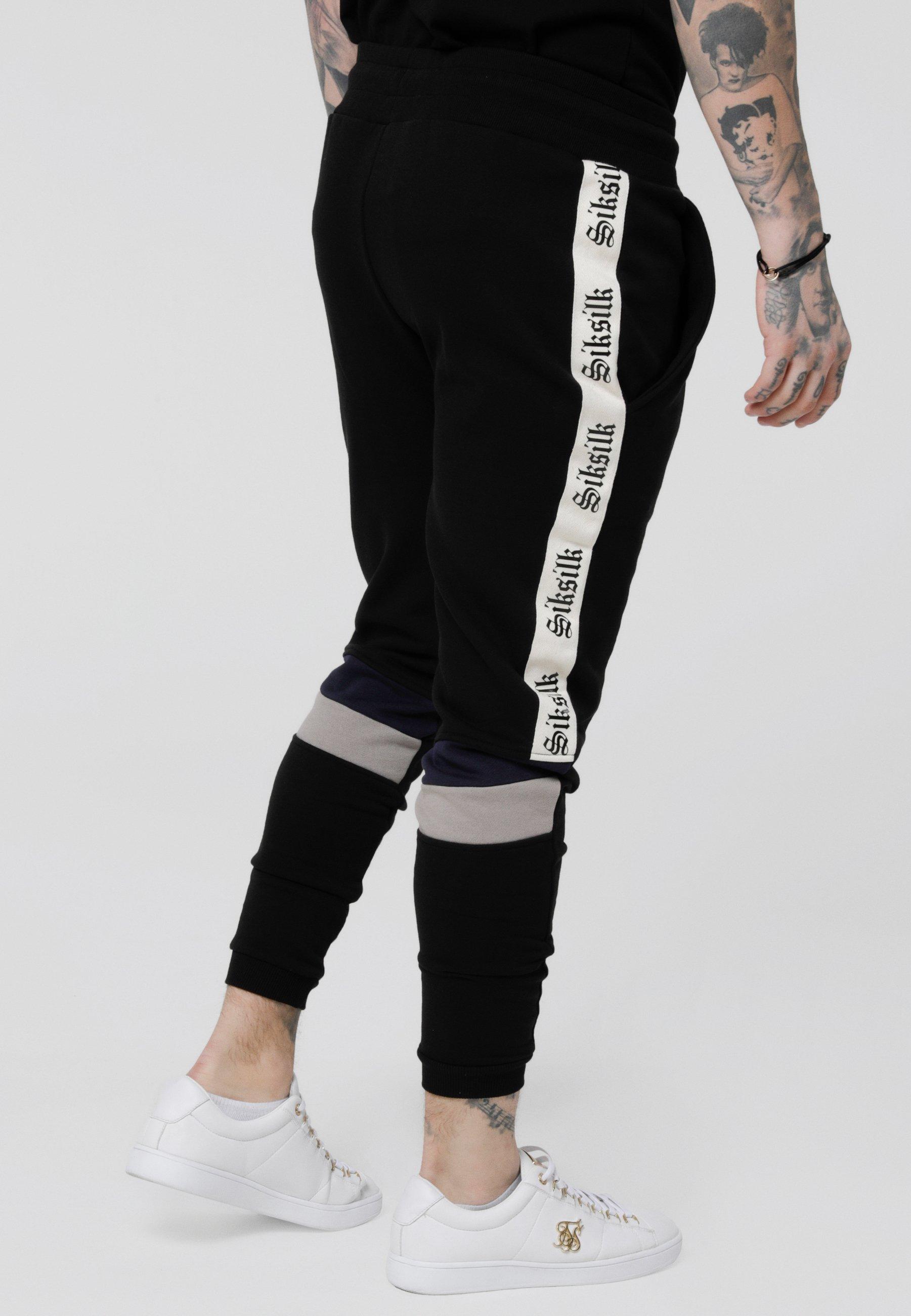 Siksilk Retro Panel Tape - Pantaloni Sportivi Black XDExI