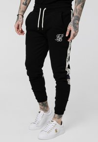 SIKSILK - RETRO PANEL TAPE - Tracksuit bottoms - black - 0
