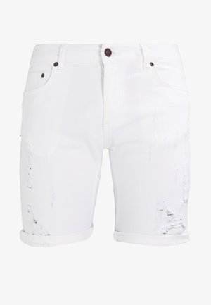 DISTRESSED - Szorty jeansowe - white
