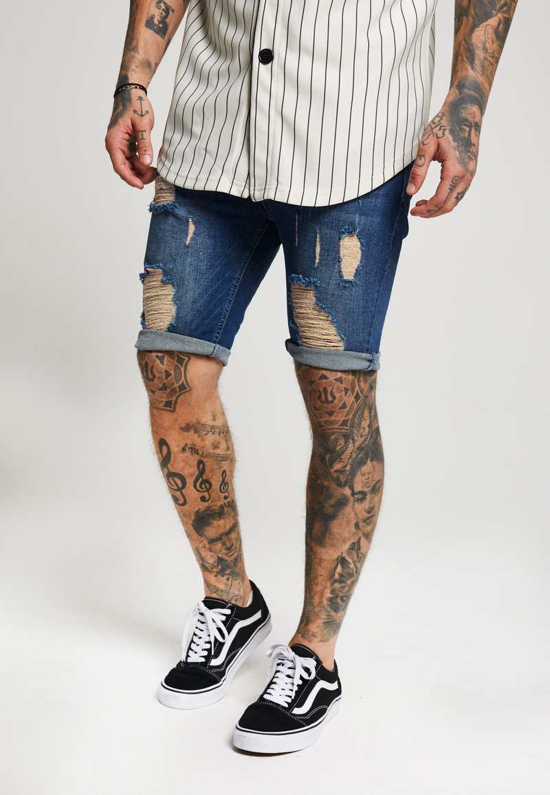 SIKSILK - DISTRESSED - Jeans Shorts - midstone