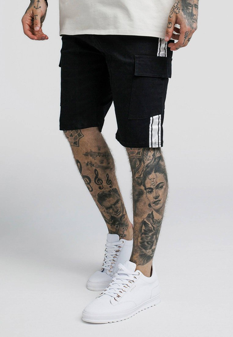 SIKSILK - TAPED CARGO  - Shorts - black