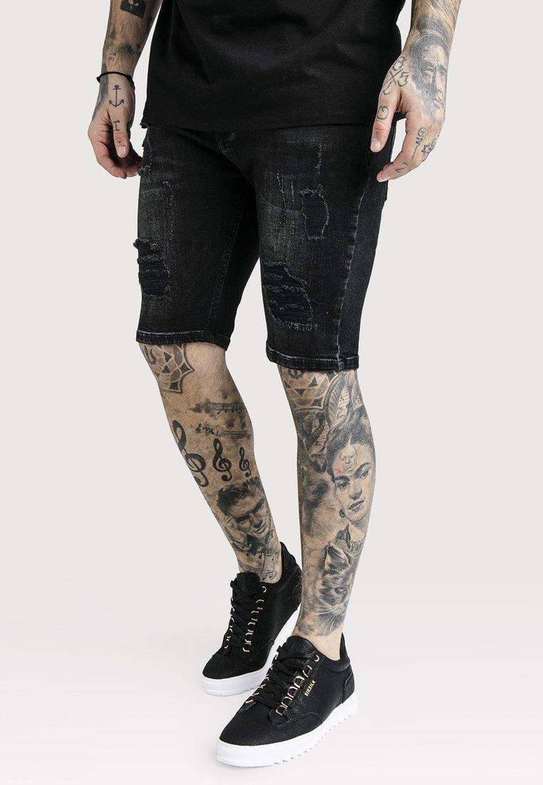 SIKSILK - Denim shorts - washed black