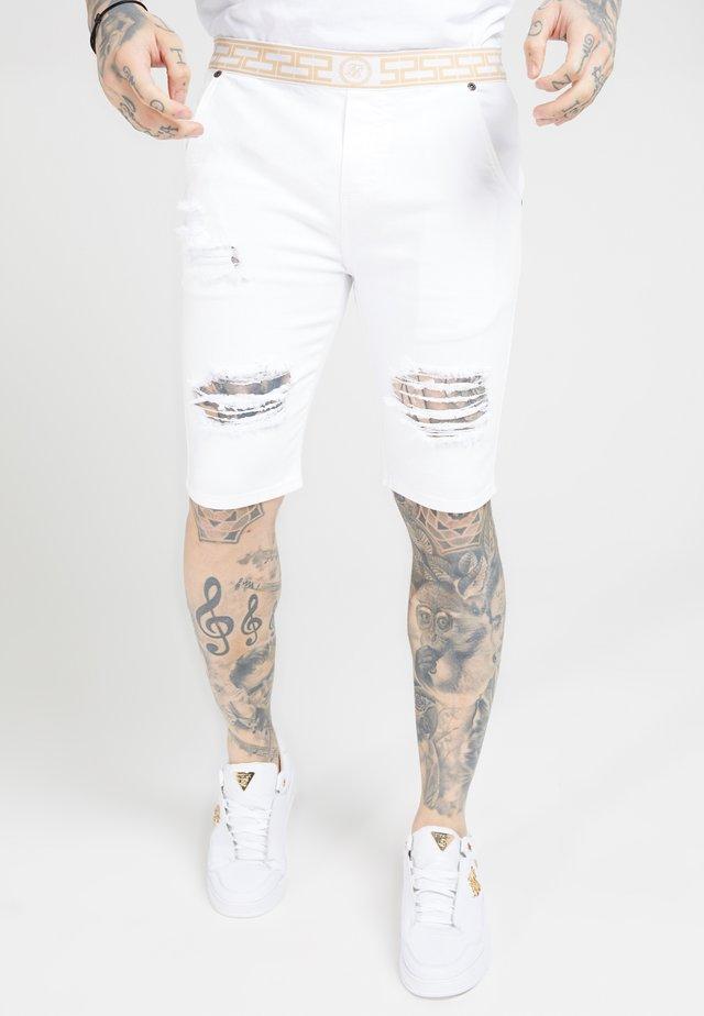 ELASTICATED WAIST DISTRESSED - Short en jean - white