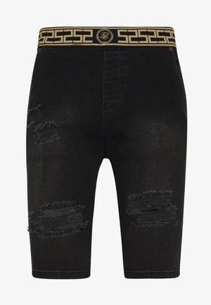 ELASTICATED WAIST DISTRESSED - Denim shorts - black