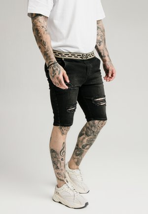 ELASTICATED WAIST DISTRESSED - Jeansshorts - black