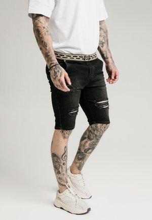 ELASTICATED WAIST DISTRESSED - Jeansshort - black