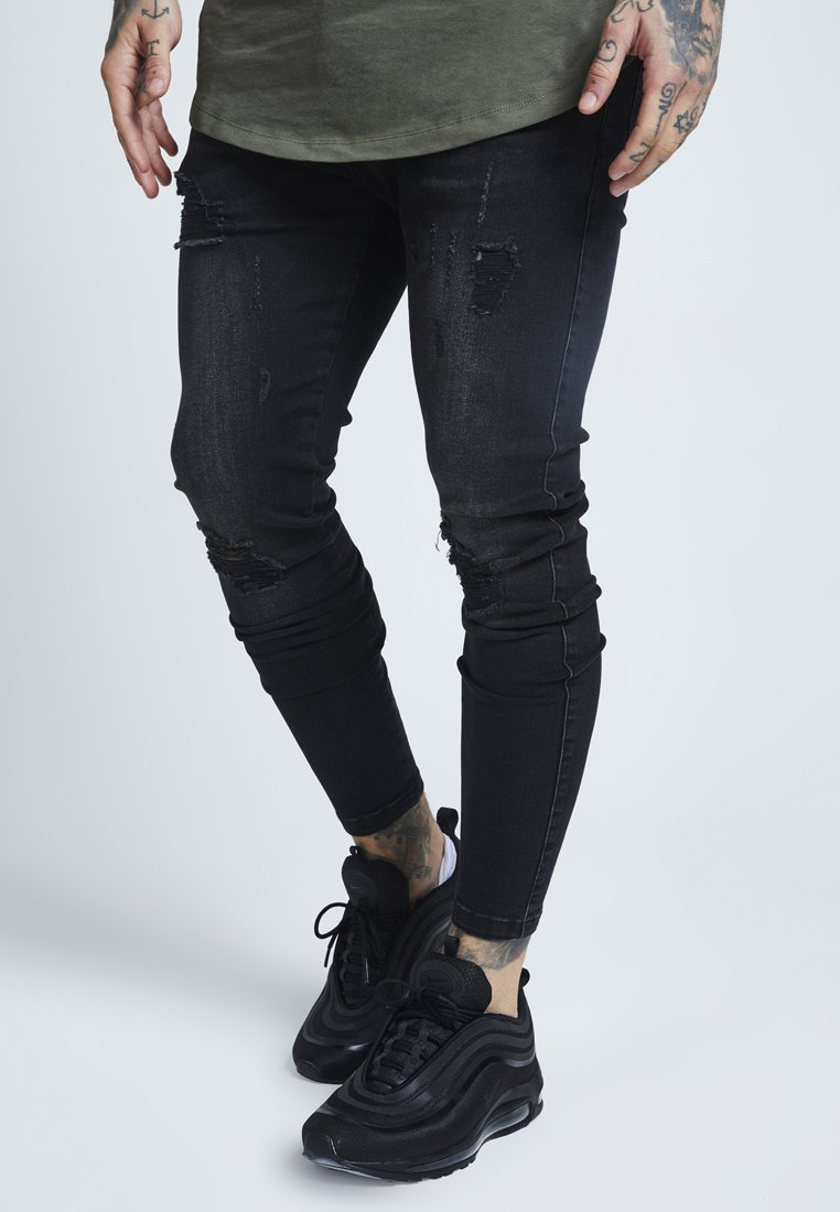SIKSILK - DISTRESSED - Slim fit jeans - washed black